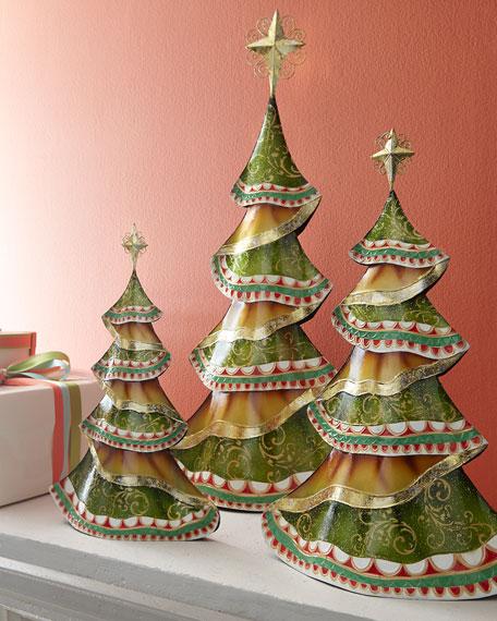 Three Metal Christmas Trees