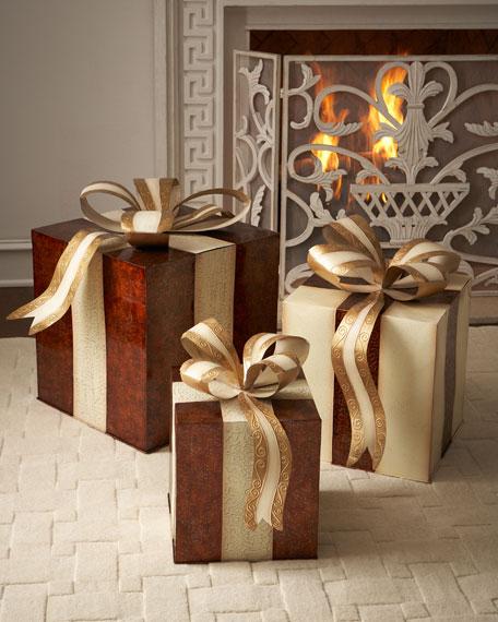 Three metal nesting gift boxes