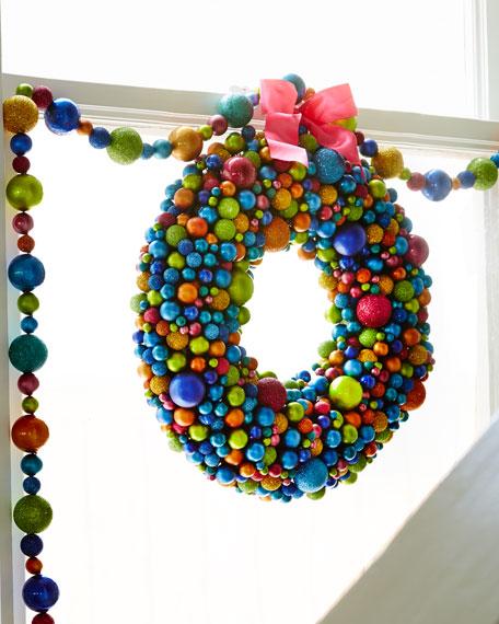 """16"""" Multicolored Ball Wreath"""