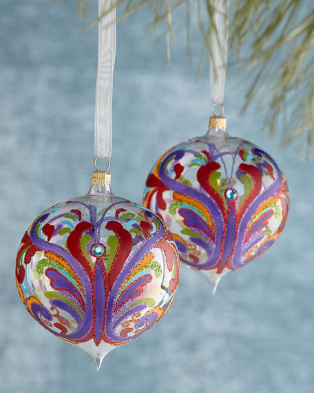 Two Painted Butterfly Christmas Ornamnets