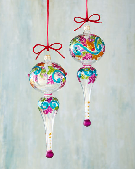 Two Multicolored Finial Ornaments