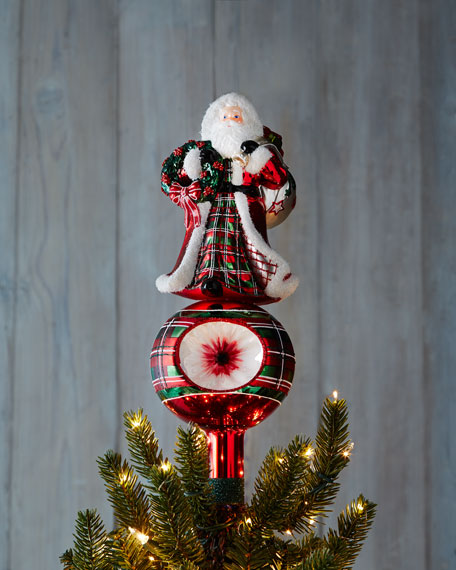 Santa and Wreath Christmas Tree Topper