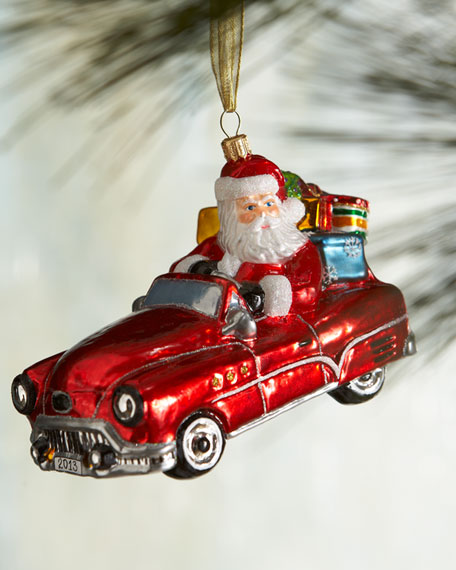 Santa in Neiman Marcus Car Christmas Ornament