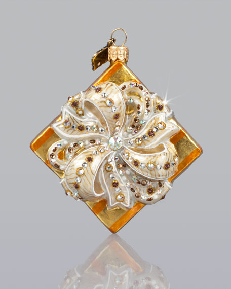 Gift-Wrapped Box Glass Christmas Ornament