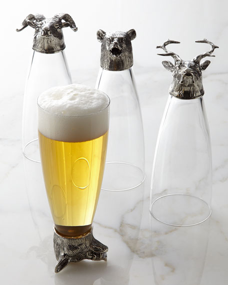 Arte Italica Four Animale Assorted Pilsner Glasses