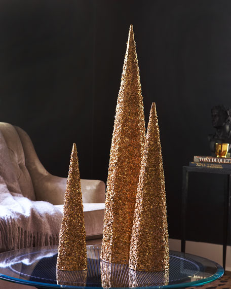 Three Golden Wire Lace Trees