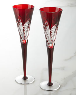 Waterford Two Times Square Ruby Flutes