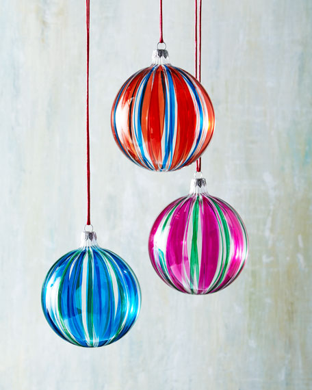 Six Striped Glass Ball Christmas Ornaments