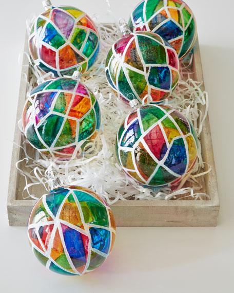 Six Mosaic Glass Ball Ornaments