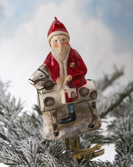 Santa on Toy Horse Clip Christmas Ornament