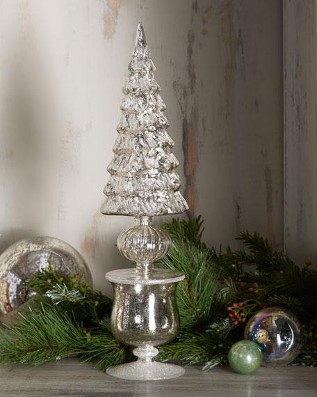Antiqued-Silver Mercury Tree in Urn