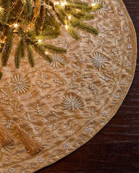 Gold with Pearls Tree Skirt