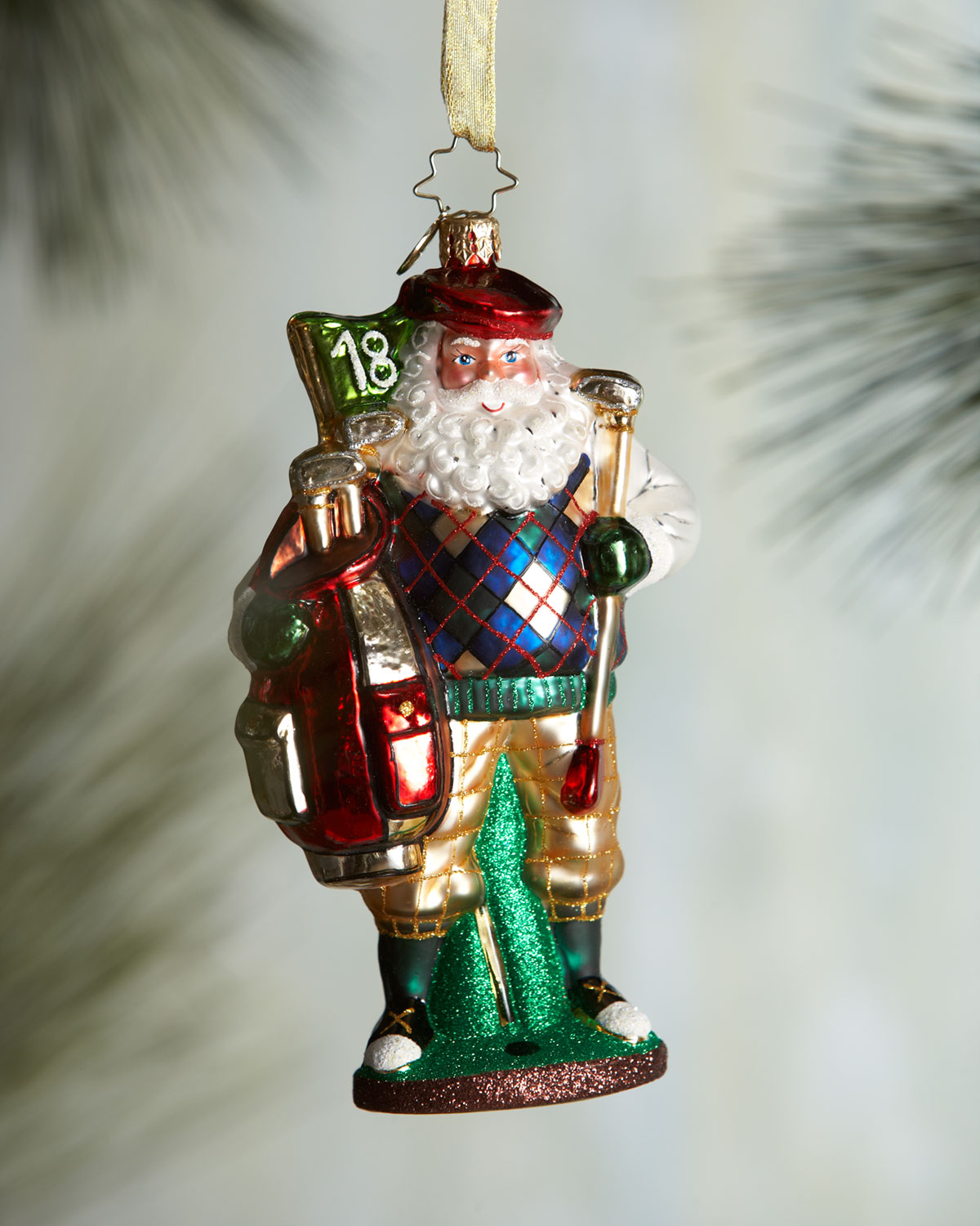 Christopher Radko Fore! The Holidays Golf Santa Christmas Ornament