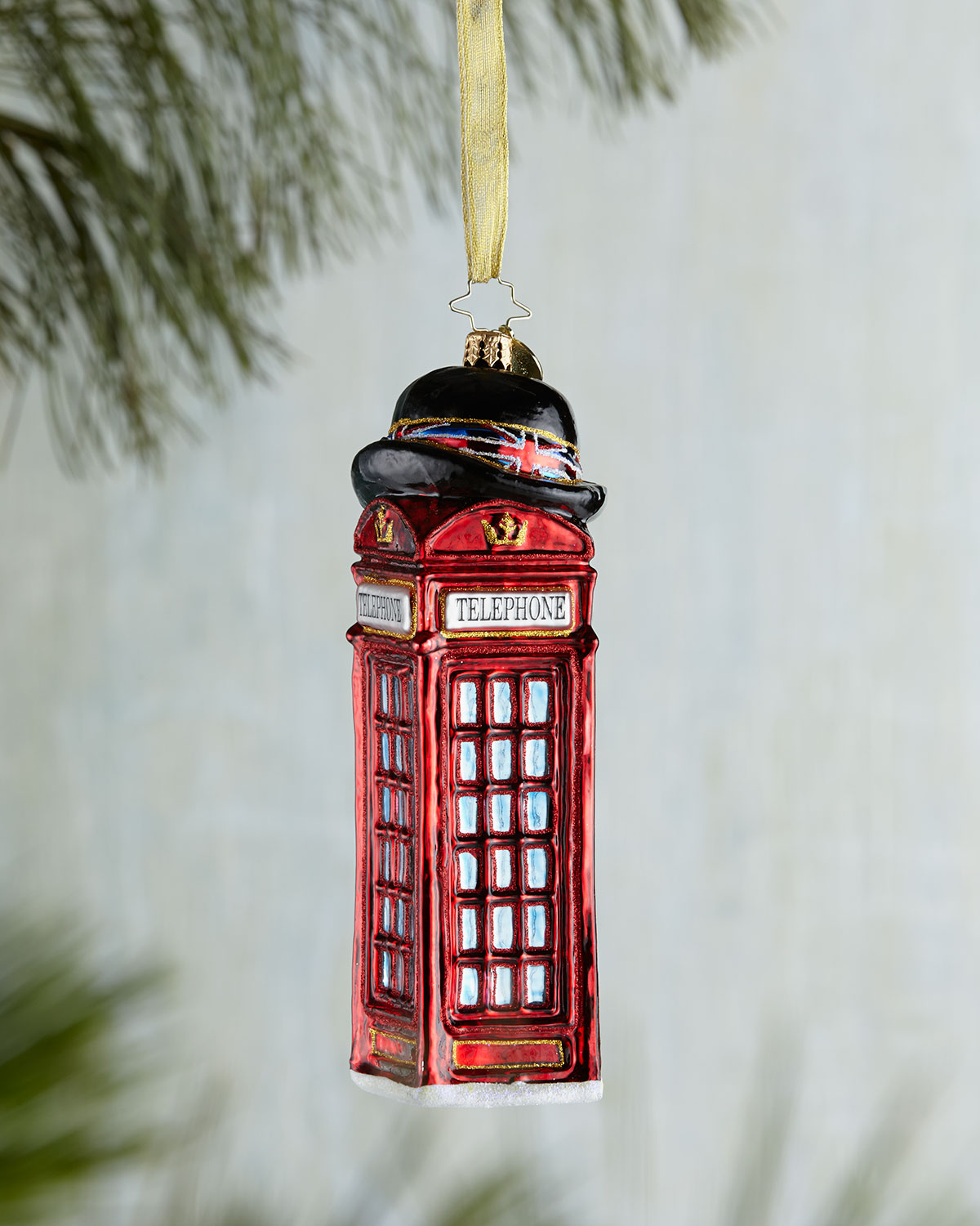 Christopher Radko Allo & Allo British Phone Booth Christmas Ornament