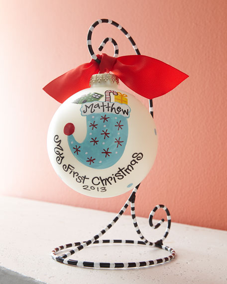 Boy's First Christmas Ornament with Stand