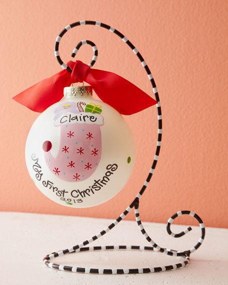 Girl's First Christmas Ornament with Stand