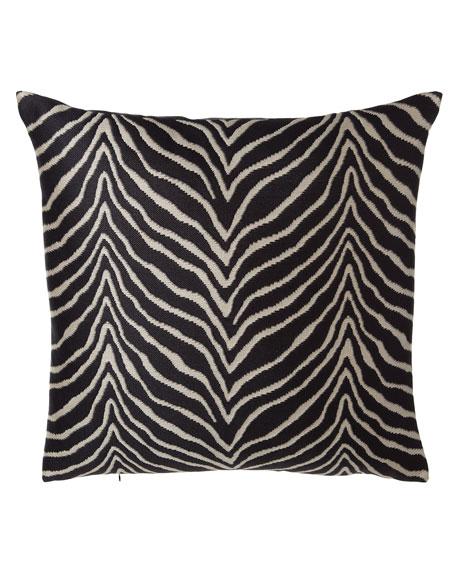 Le Zebre Nairobi Zebra-Stripe European Pillow, 27