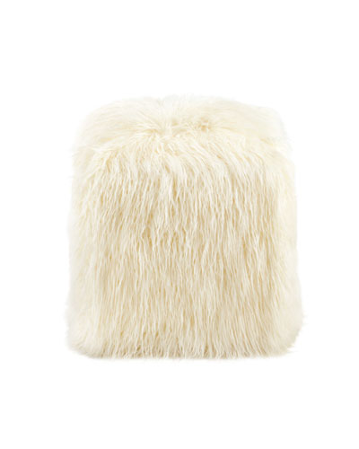 Ivory Mongolian Lamb Faux-Fur Pouf
