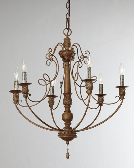 French-Umber Six-Light Chandelier