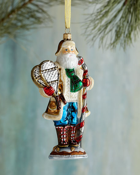 Snowy Mountain Santa Christmas Ornament