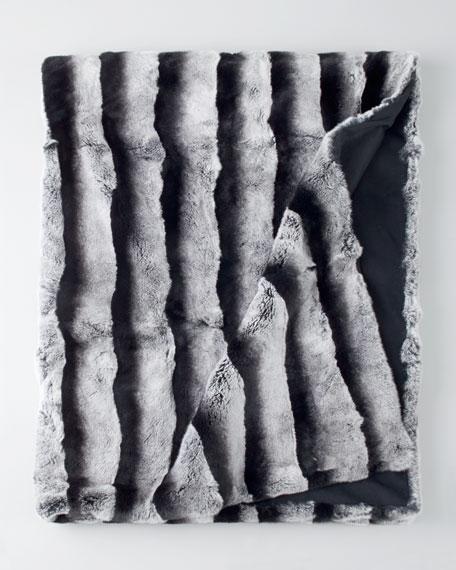 Rex Chinchilla-Printed Black-and-White Throw
