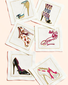 Kim Seybert Six Shoe-Embroidered Cocktail Napkins