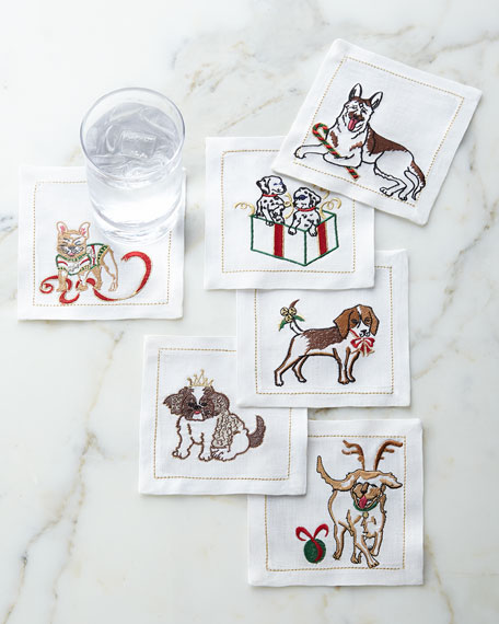Six Christmas Dog Cocktail Napkins