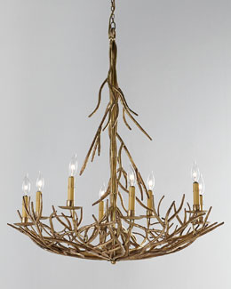 Eight-Light Iron-Twig Chandelier