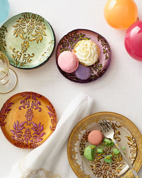 Four Damask Canape Plates