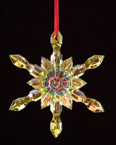 Baccarat Iridescent Canary Snowflake Christmas Ornament