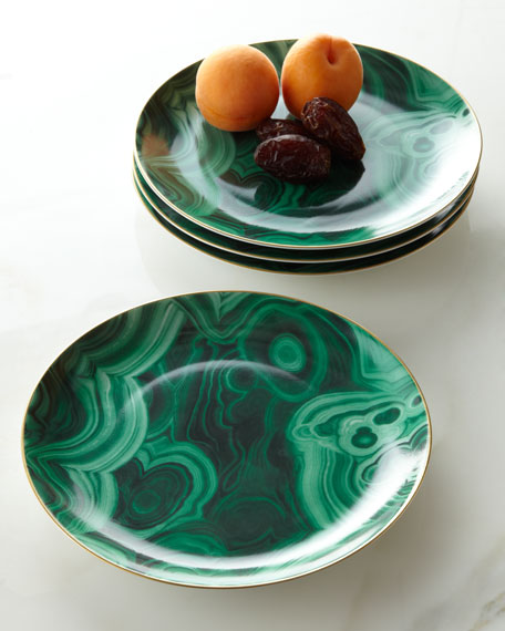 Four Malachite Dessert Plates