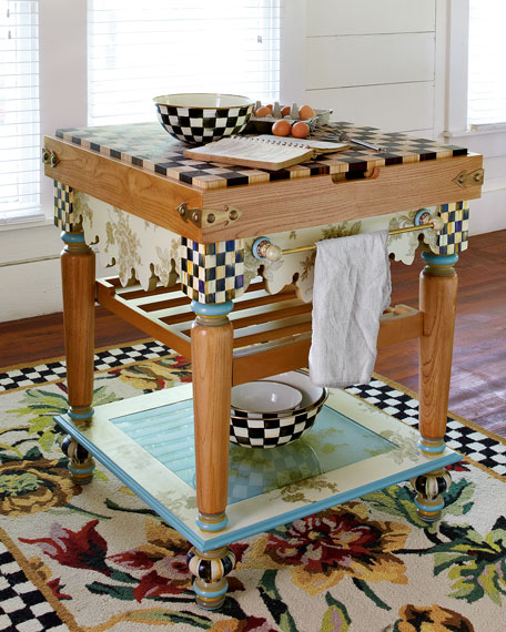 Pressed Flower Butcher Block Table