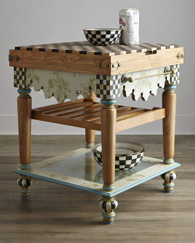 MacKenzie-Childs Pressed Flower Butcher Block Table