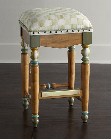 MacKenzie-Childs Parchment Check Barstool