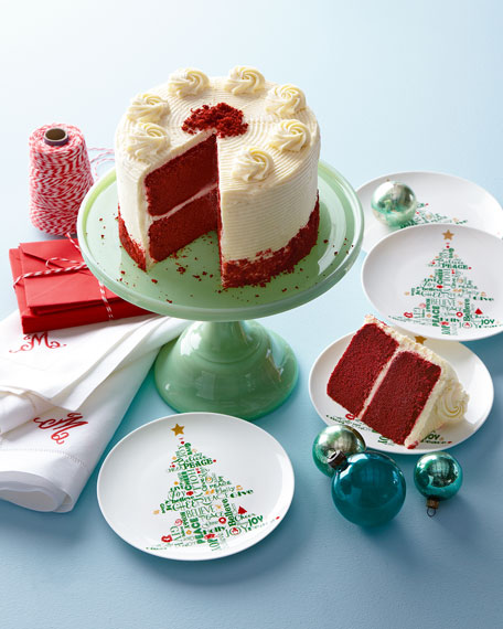 Four Christmas Tree Party Plates