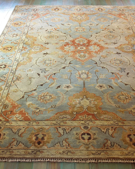 "Damask on Blue Oushak Runner,  2'6"" x 10'"