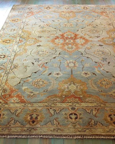 Damask on Blue Oushak Rug, 8' x 10'