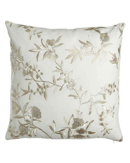 "Condotti Embroidered Floral Pillow, 24""Sq."