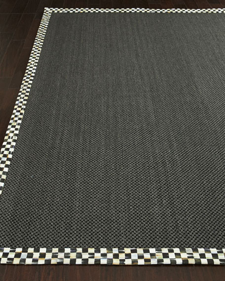 MacKenzie-Childs Courtly Check Black Sisal Rug & Matching