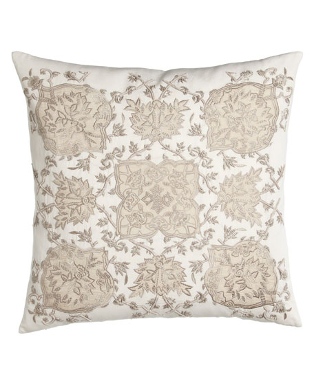 "Avalon Square Pillow with Cream Ground, 22""Sq."