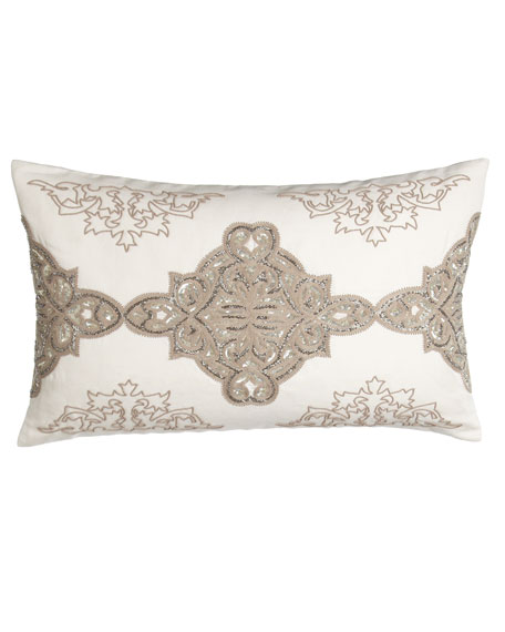 """Avalon Sequined/Beaded Pillow, 16"""" x 26"""""""