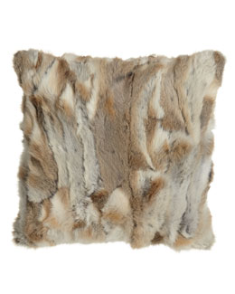 "Adrienne Landau Rabbit Textured Pillow, 20""Sq."