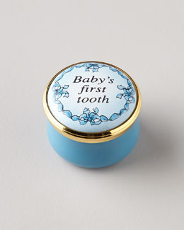 Halcyon Days Enamels Blue Baby's First Tooth Box