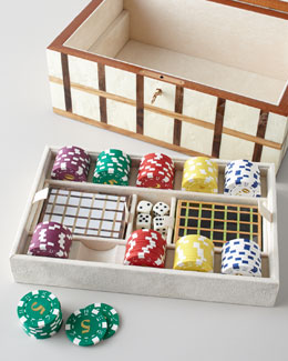 Ercolano Game Box with Tray & Poker Set