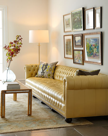 """Leather Furniture Hickory North Carolina: Old Hickory Tannery Zerenity 131.5""""L Chesterfield Leather"""