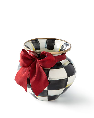 COURTLY CHECK VASE WITH RED