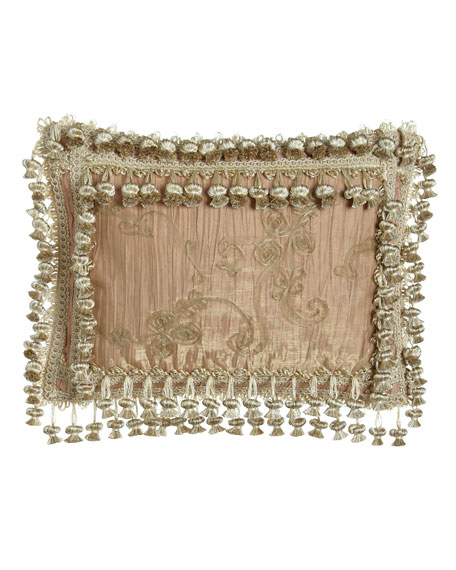 "Alessandra Crushed Silk Pillow with Sheer Overlay & Onion Trim, 13"" x 17"""