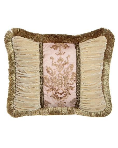 Alessandra Pillow with Ruched Velvet Sides & Brush Fringe, 16