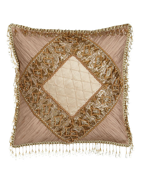 "Alessandra Pillow with Shirred Silk Corners & Bead Embellishment, 16""Sq."