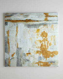 John-Richard Collection Large White & Gold Abstract